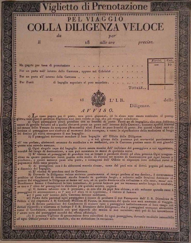 Biglietto di prenotazione del 1850