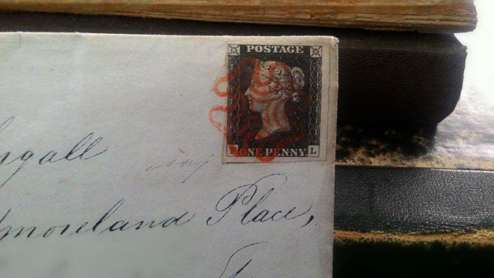 Il Penny Black su una lettera datata giugno 1840