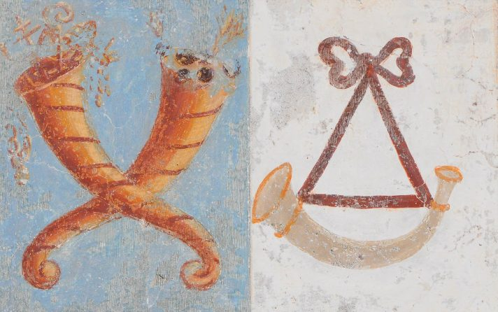 Stemmi della Famiglia Tasso negli affreschi della Chiesa di San Ludovico di Tolosa