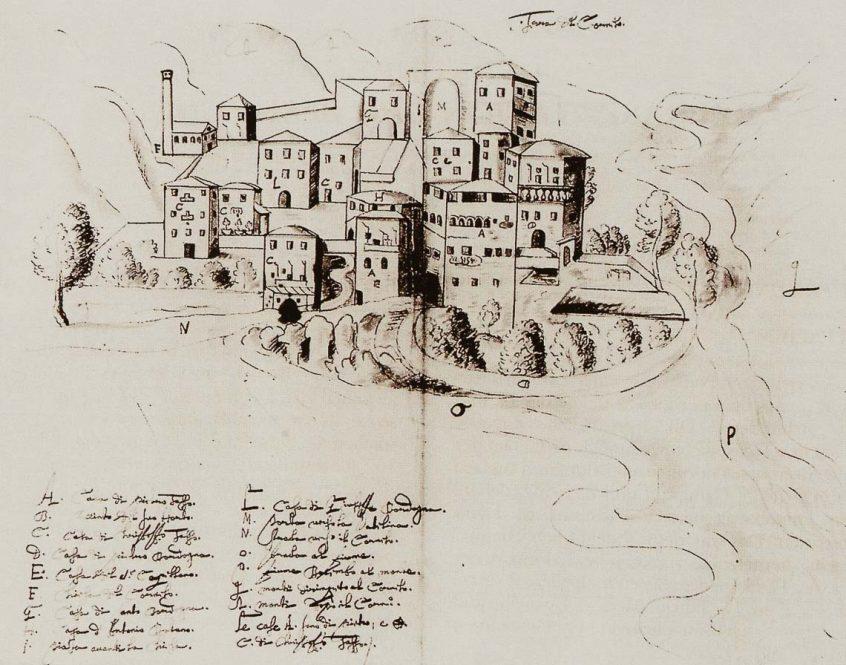 Cornello in un disegno del XVII secolo - Archivio Centrale dei Principi Thurn und Taxis di Regensburg