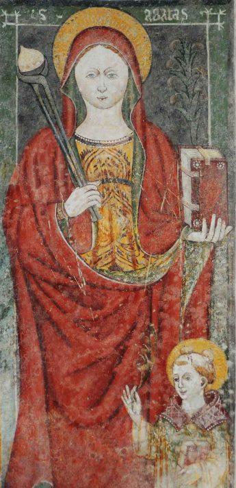 Affresco di Sant'Agata nella chiesa dei Santi Cornelio e Cipriano