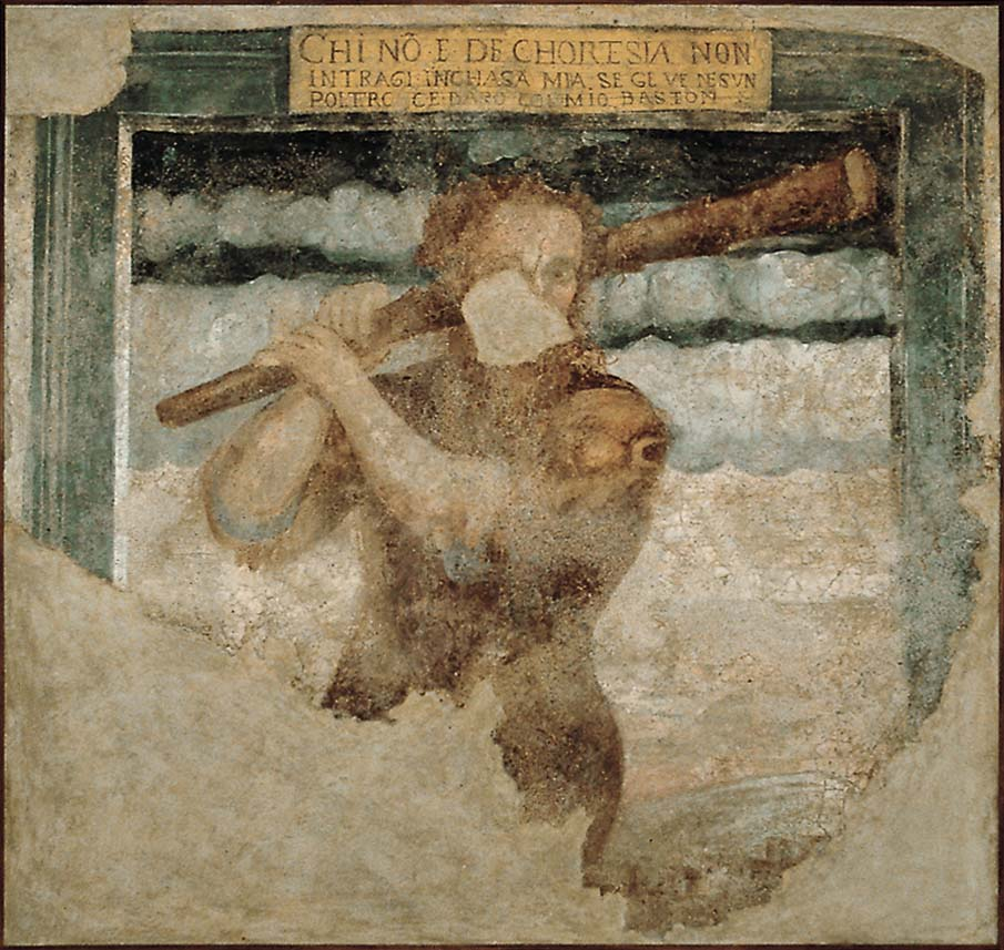 Affresco dell'Homo Selvadego in Palazzo Grataroli a Oneta