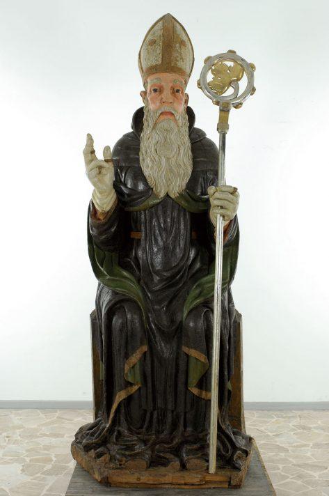 Statua di Sant'Antonio Abate in legno policromo nella chiesa di Pianca