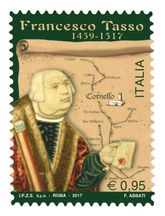 Il francobollo commemorativo dedicato a Francesco Tasso emesso da Poste Italiane.