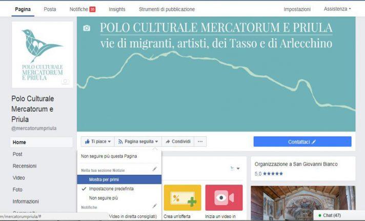 Istruzioni per continuare a seguire la pagina Facebook del Polo Culturale Mercatorum e Priula.