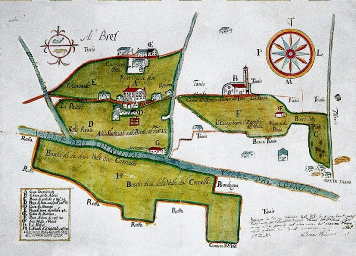 Contrada di Bretto in un disegno del 1715