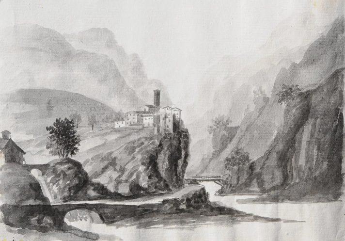 Cornello dei Tasso in un acquerello del XVIII secolo